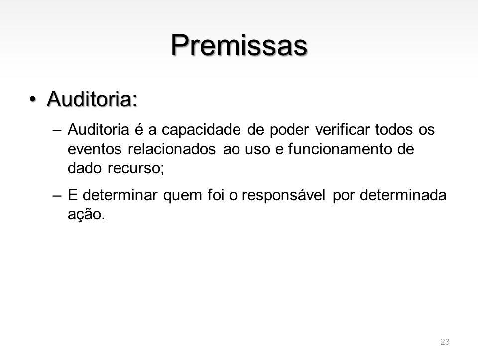 Premissas •Auditoria: –Auditoria é a capacidade de poder verificar todos os eventos relacionados ao uso e funcionamento de dado recurso; –E determinar
