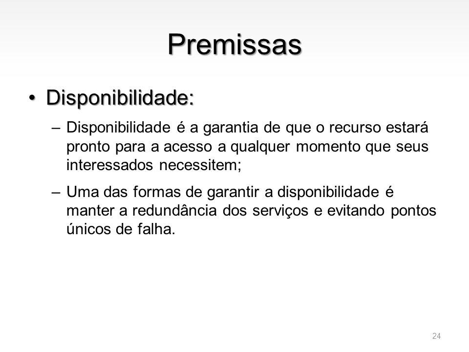 Premissas •Disponibilidade: –Disponibilidade é a garantia de que o recurso estará pronto para a acesso a qualquer momento que seus interessados necess