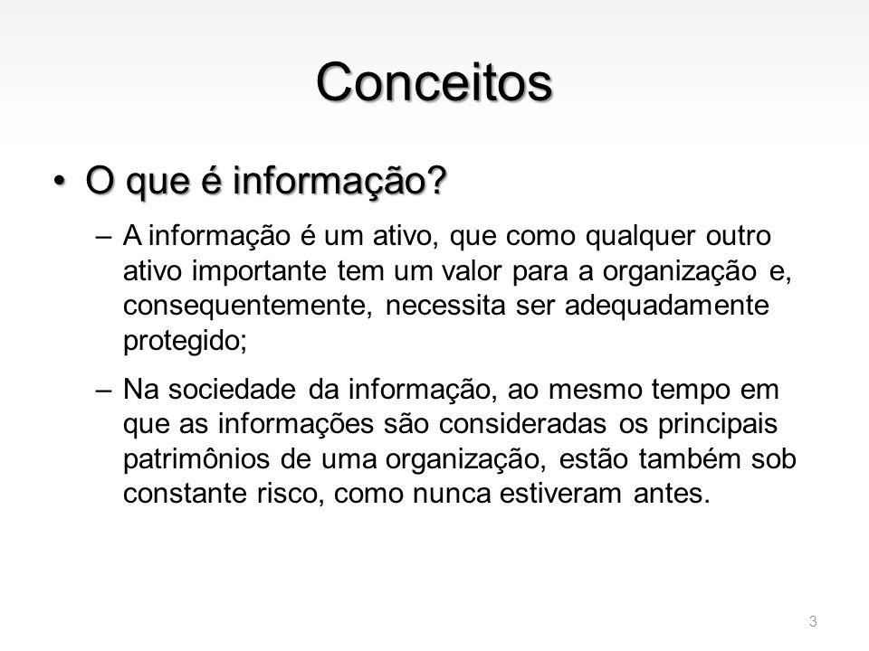 Conceitos •O que é segurança da informação.