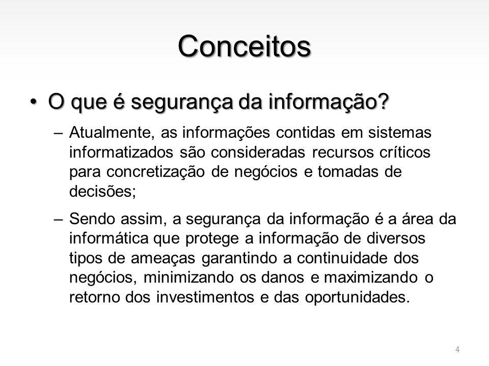 Conceitos •O que é segurança da informação? –Atualmente, as informações contidas em sistemas informatizados são consideradas recursos críticos para co
