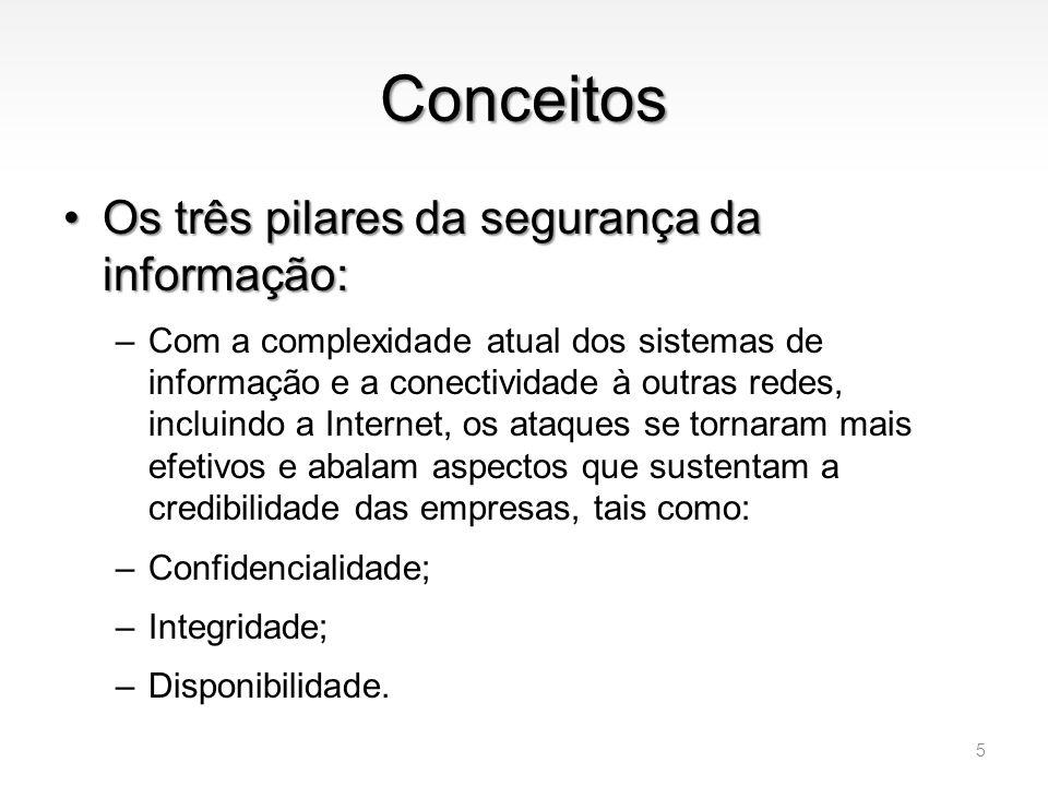 Conceitos •Confidencialidade –É a garantia de que a informação é acessível somente por pessoas autorizadas; –O que pode acontecer se as informações de sua organização caírem nas mãos da concorrência.