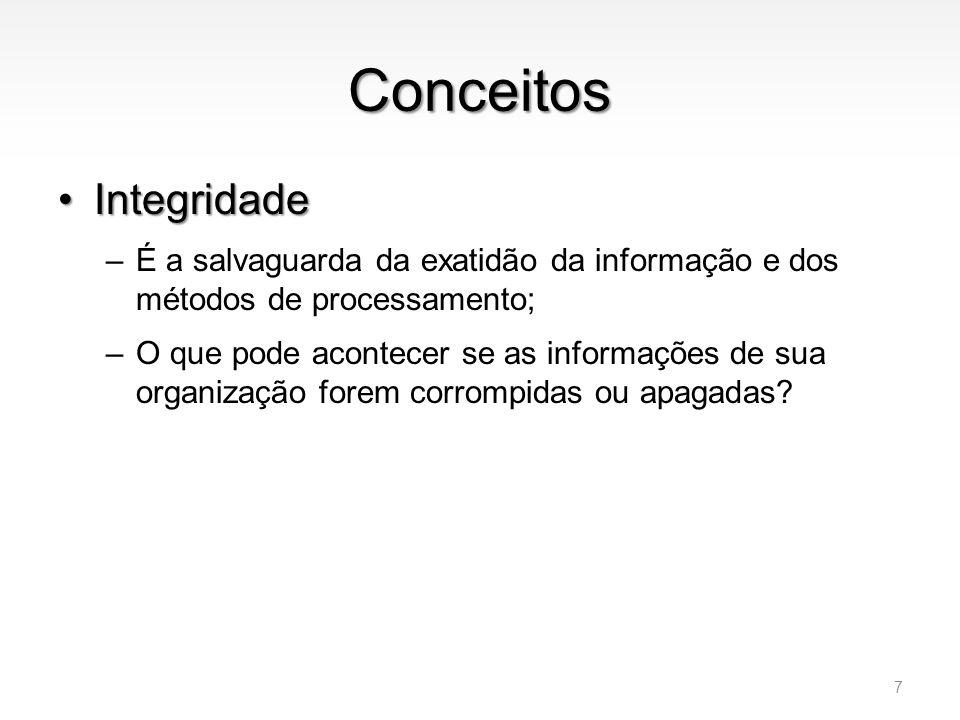 Conceitos •Integridade –É a salvaguarda da exatidão da informação e dos métodos de processamento; –O que pode acontecer se as informações de sua organ