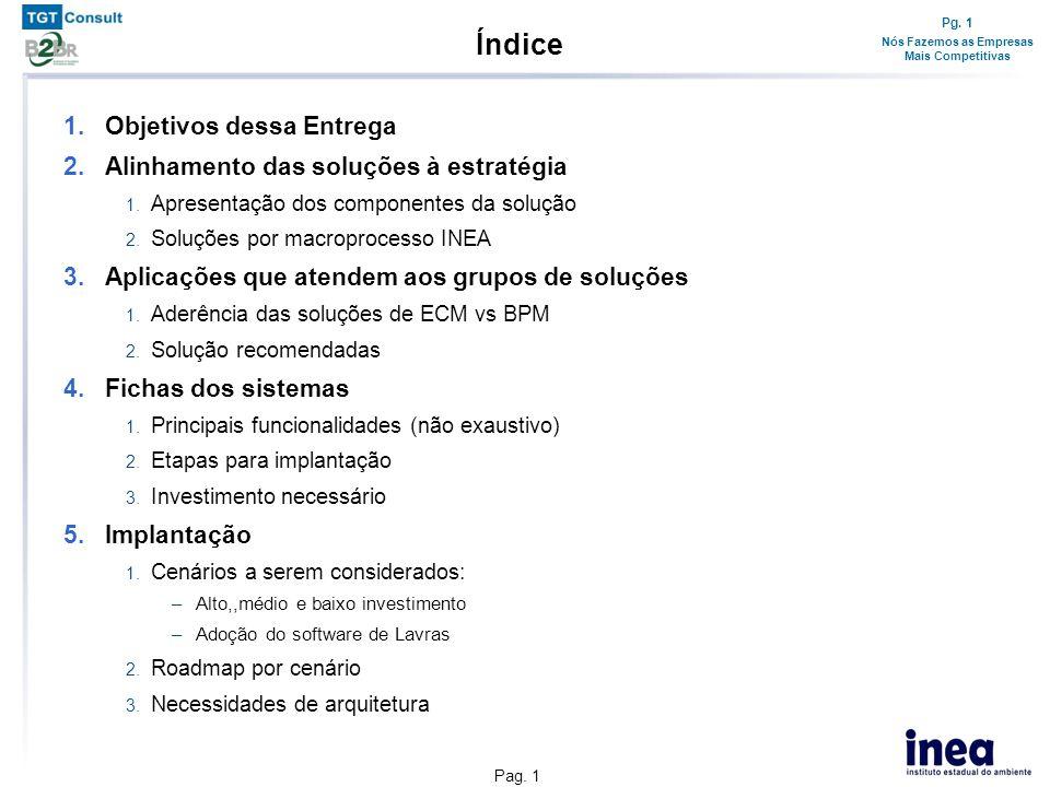 Pg. 1 Nós Fazemos as Empresas Mais Competitivas Pag. 1 Índice 1.Objetivos dessa Entrega 2.Alinhamento das soluções à estratégia 1. Apresentação dos co