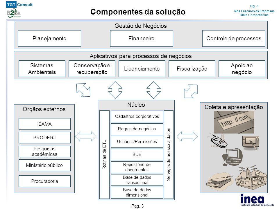Pg. 3 Nós Fazemos as Empresas Mais Competitivas Pag. 3 Aplicativos para processos de negócios Componentes da solução Sistemas Ambientais Licenciamento
