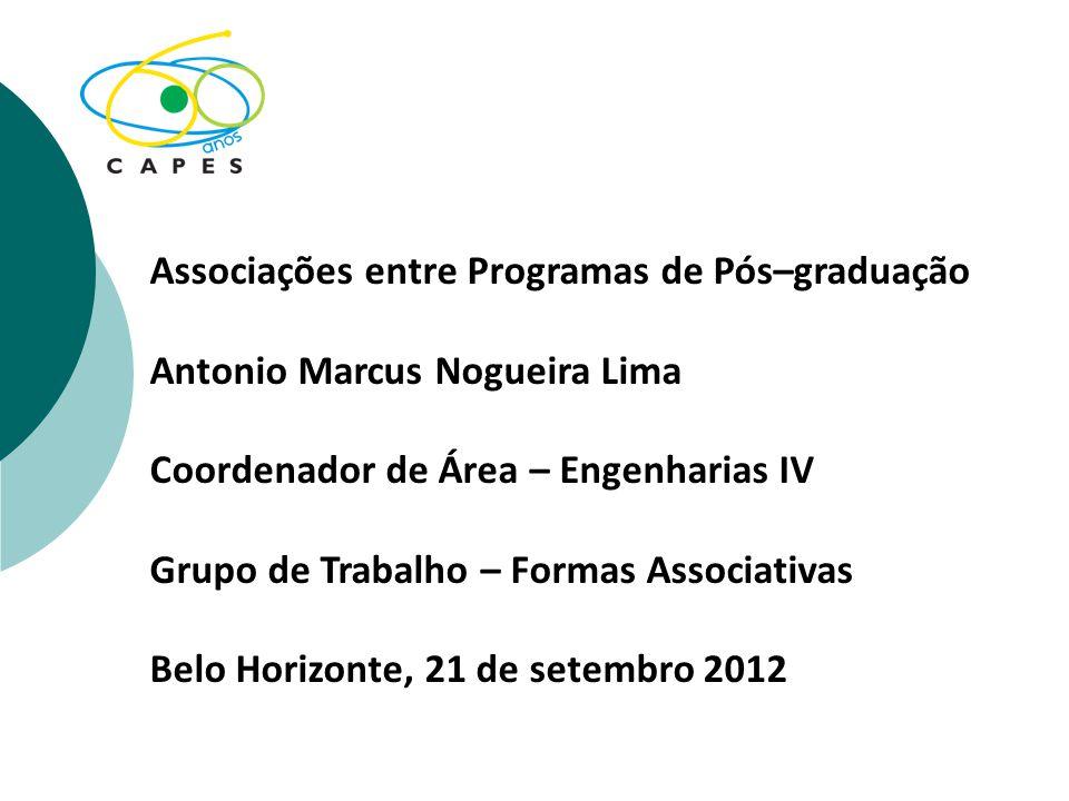 Associações entre Programas de Pós–graduação Antonio Marcus Nogueira Lima Coordenador de Área – Engenharias IV Grupo de Trabalho – Formas Associativas Belo Horizonte, 21 de setembro 2012