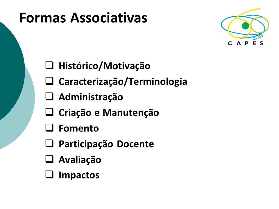  Histórico/Motivação  Caracterização/Terminologia  Administração  Criação e Manutenção  Fomento  Participação Docente  Avaliação  Impactos Formas Associativas