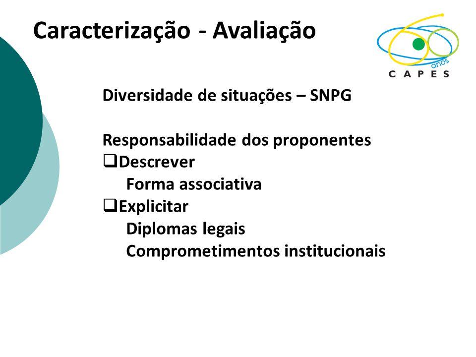 Caracterização - Avaliação Diversidade de situações – SNPG Responsabilidade dos proponentes  Descrever Forma associativa  Explicitar Diplomas legais Comprometimentos institucionais
