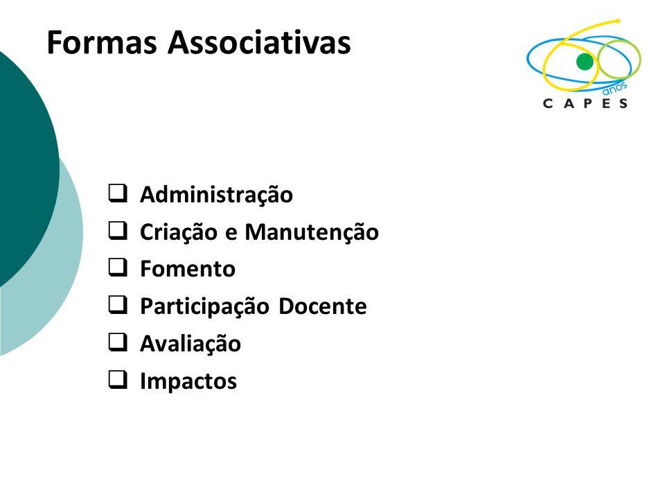  Administração  Criação e Manutenção  Fomento  Participação Docente  Avaliação  Impactos Formas Associativas