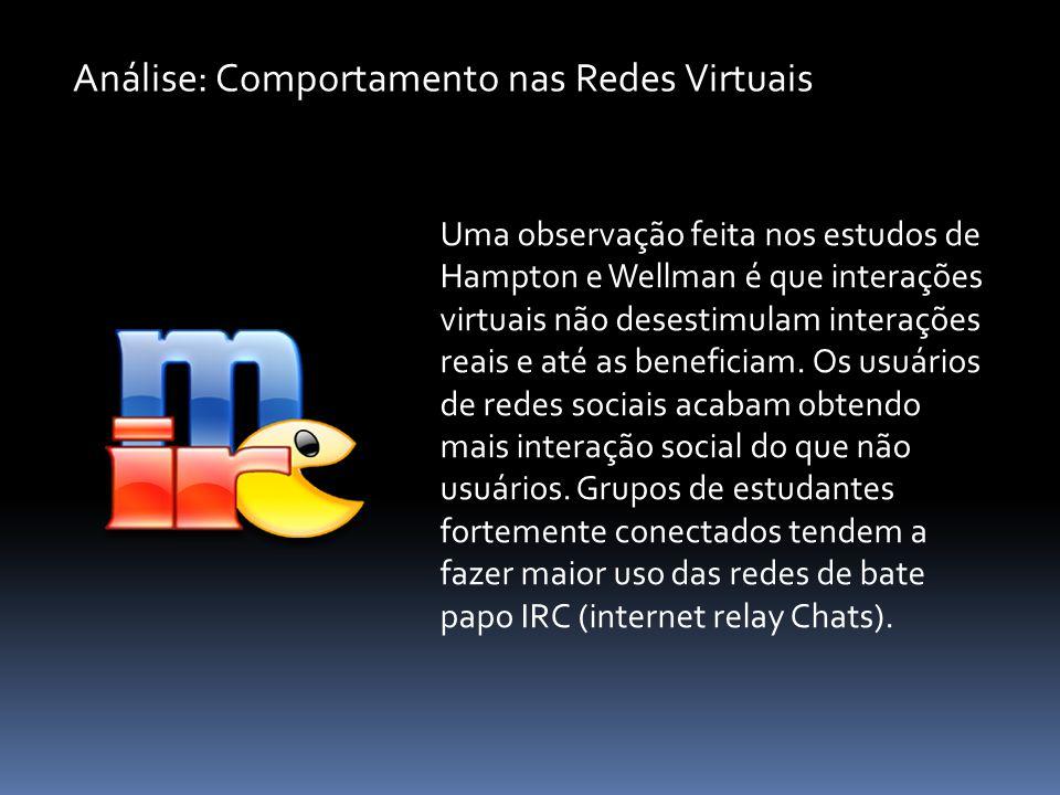 Uma observação feita nos estudos de Hampton e Wellman é que interações virtuais não desestimulam interações reais e até as beneficiam. Os usuários de