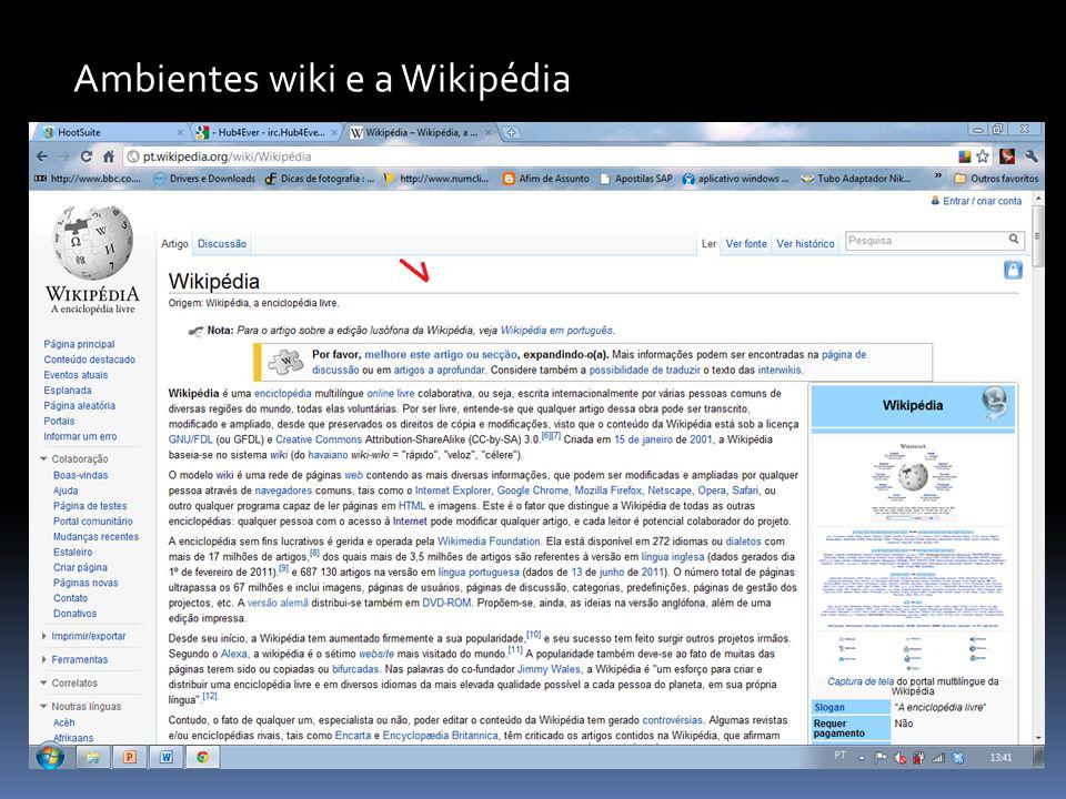 Ambientes wiki e a Wikipédia Wikis são verdadeiras mídias hipertextuais, com estrutura de navegação não-linear. Cada página geralmente contém um grand