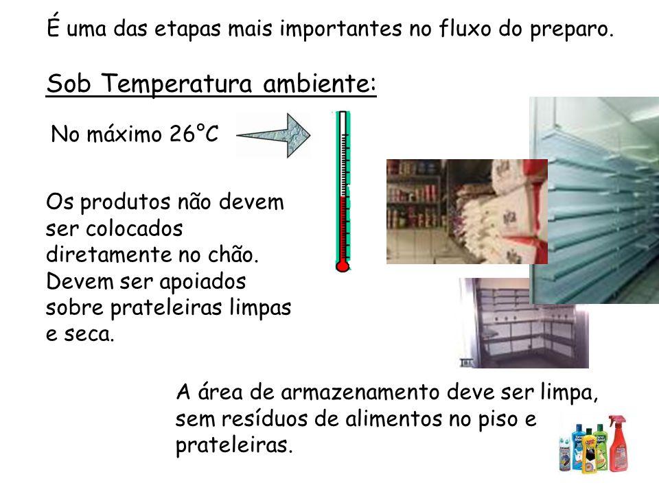 Sob Temperatura ambiente: No máximo 26°C A área de armazenamento deve ser limpa, sem resíduos de alimentos no piso e prateleiras.