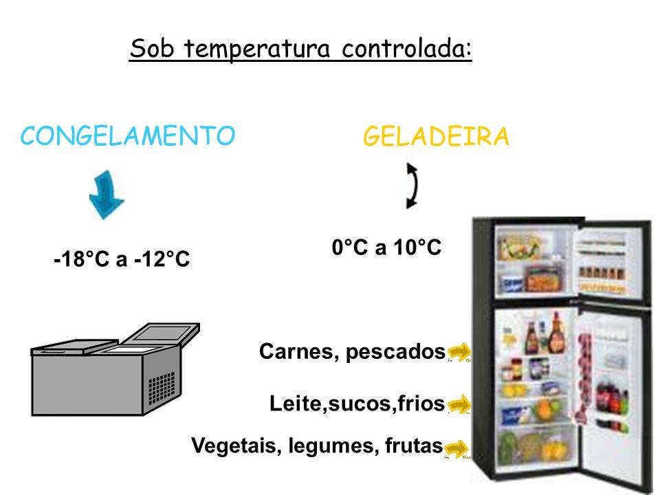Sob temperatura controlada: CONGELAMENTO -18°C a -12°C GELADEIRA 0°C a 10°C Carnes, pescados Leite,sucos,frios Vegetais, legumes, frutas