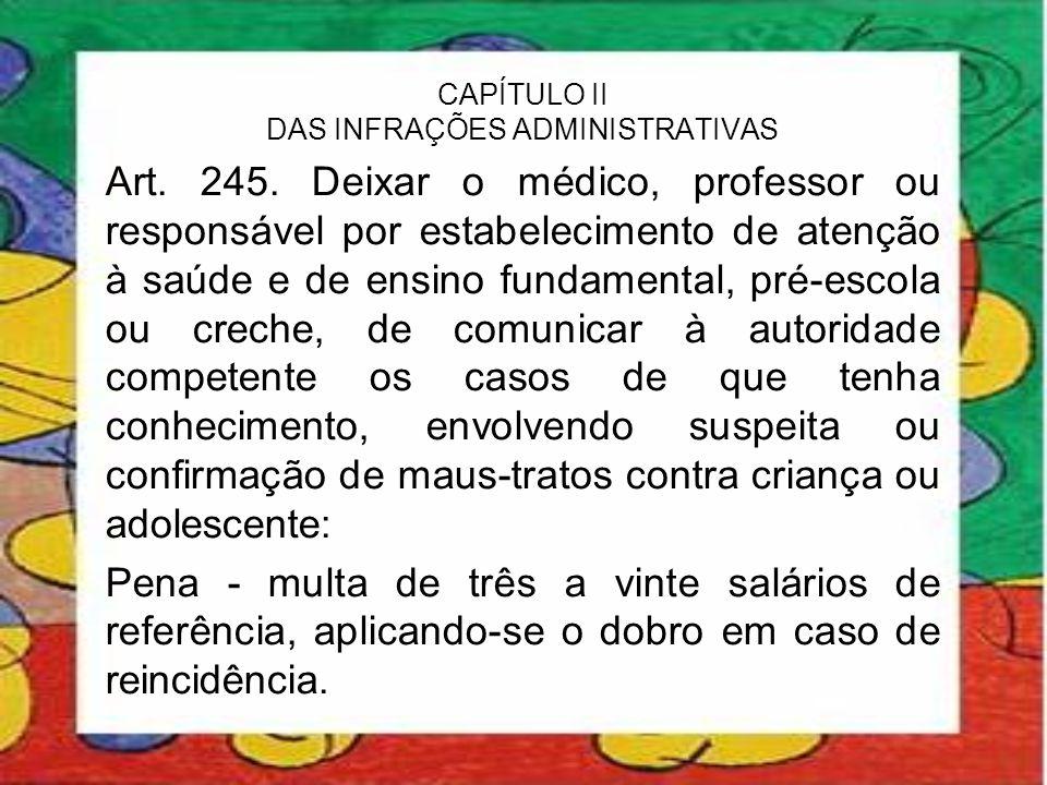CAPÍTULO II DAS INFRAÇÕES ADMINISTRATIVAS Art. 245. Deixar o médico, professor ou responsável por estabelecimento de atenção à saúde e de ensino funda