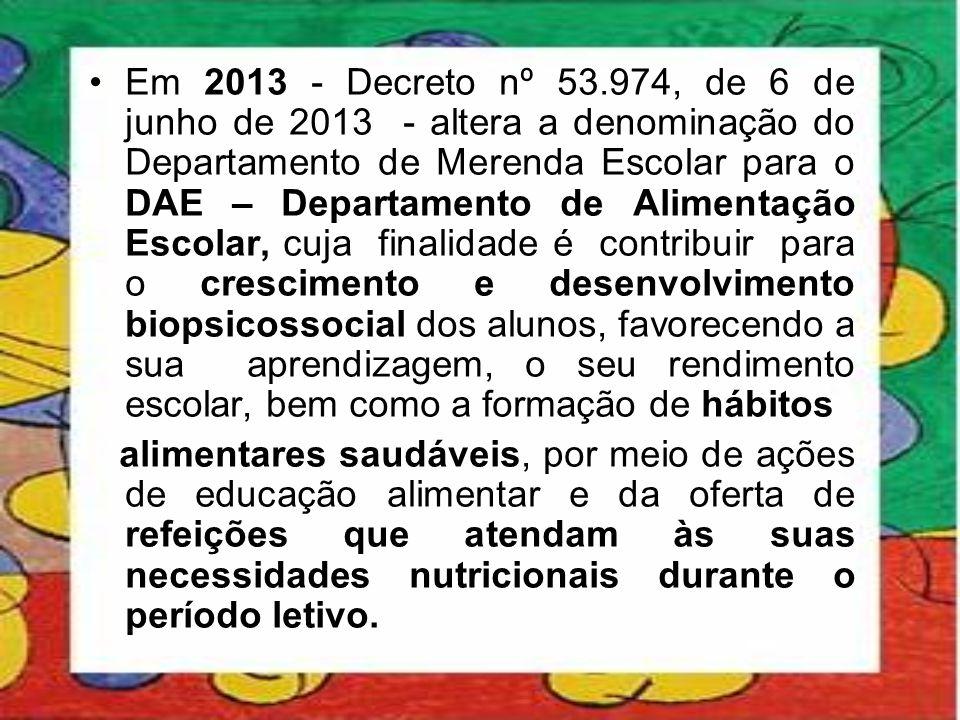 •Em 2013 - Decreto nº 53.974, de 6 de junho de 2013 - altera a denominação do Departamento de Merenda Escolar para o DAE – Departamento de Alimentação