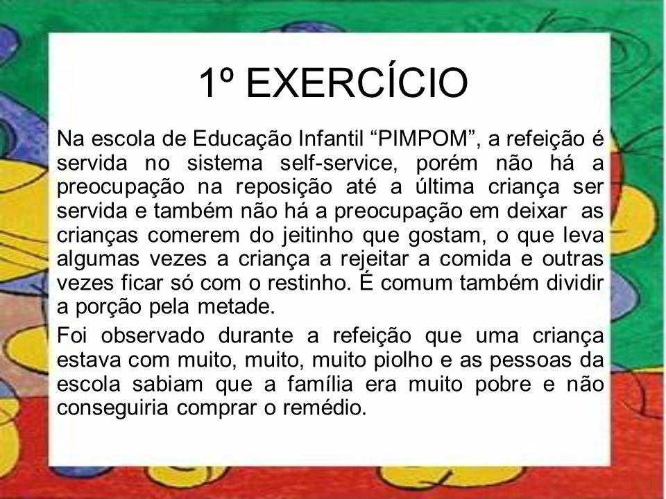 """1º EXERCÍCIO Na escola de Educação Infantil """"PIMPOM"""", a refeição é servida no sistema self-service, porém não há a preocupação na reposição até a últi"""