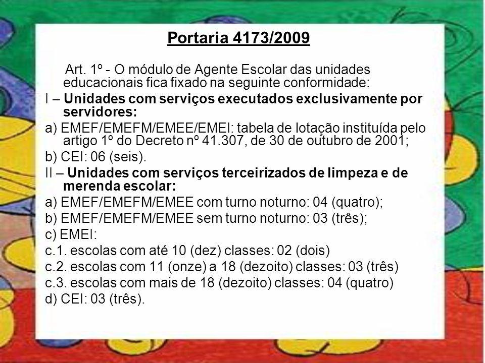 Portaria 4173/2009 Art. 1º - O módulo de Agente Escolar das unidades educacionais fica fixado na seguinte conformidade: I – Unidades com serviços exec
