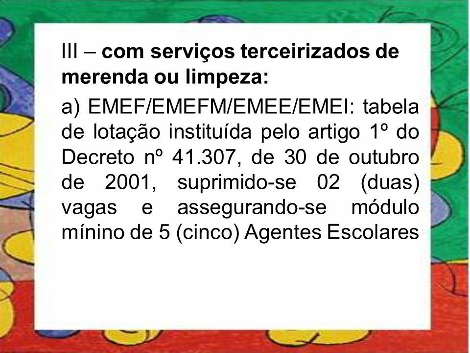 III – com serviços terceirizados de merenda ou limpeza: a) EMEF/EMEFM/EMEE/EMEI: tabela de lotação instituída pelo artigo 1º do Decreto nº 41.307, de