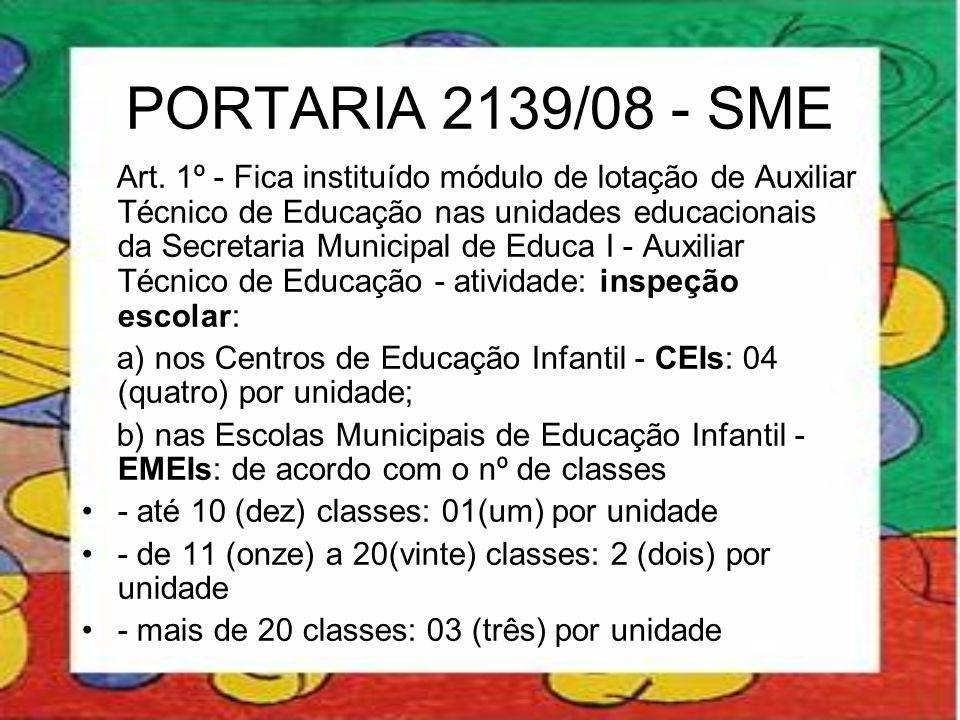 PORTARIA 2139/08 - SME Art. 1º - Fica instituído módulo de lotação de Auxiliar Técnico de Educação nas unidades educacionais da Secretaria Municipal d