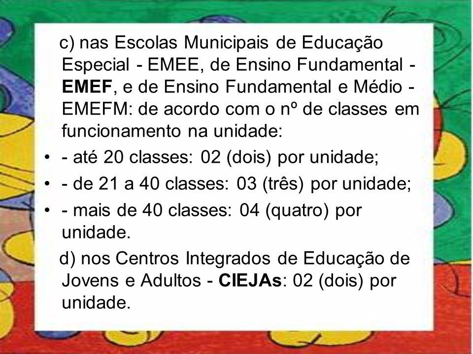 c) nas Escolas Municipais de Educação Especial - EMEE, de Ensino Fundamental - EMEF, e de Ensino Fundamental e Médio - EMEFM: de acordo com o nº de cl
