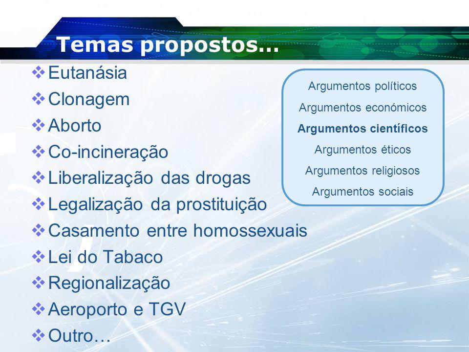 Temas propostos…  Eutanásia  Clonagem  Aborto  Co-incineração  Liberalização das drogas  Legalização da prostituição  Casamento entre homossexu