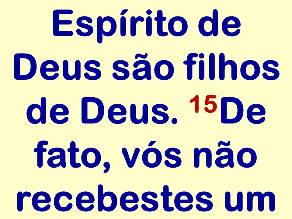 Espírito de Deus são filhos de Deus. 15 De fato, vós não recebestes um
