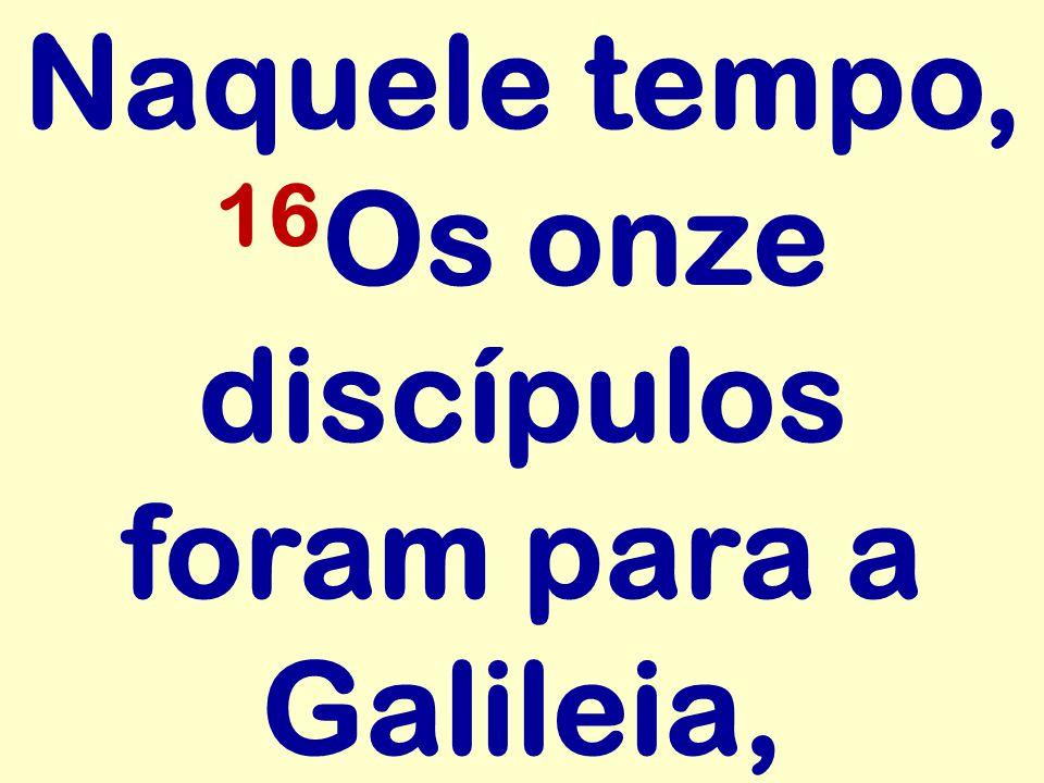Naquele tempo, 16 Os onze discípulos foram para a Galileia,