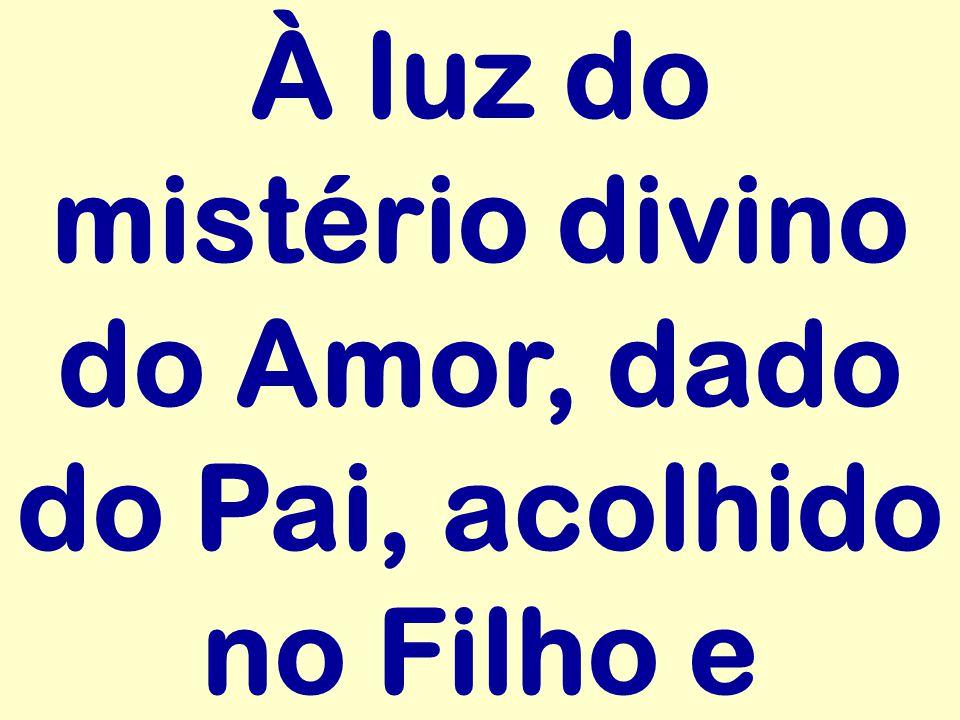 À luz do mistério divino do Amor, dado do Pai, acolhido no Filho e
