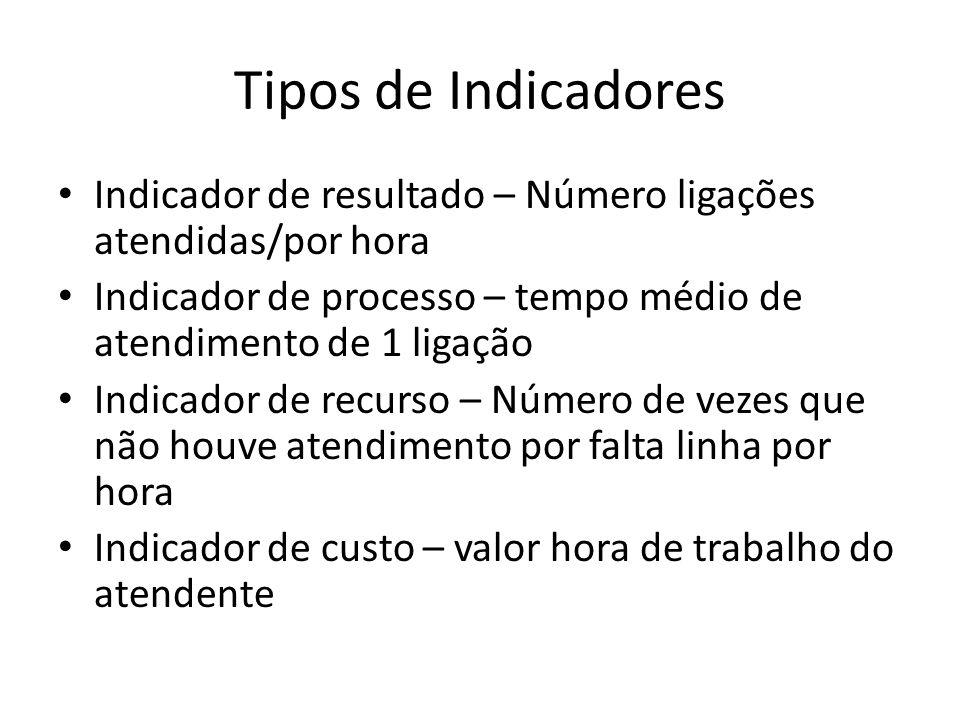 Tipos de Indicadores • Indicador de resultado – Número ligações atendidas/por hora • Indicador de processo – tempo médio de atendimento de 1 ligação •