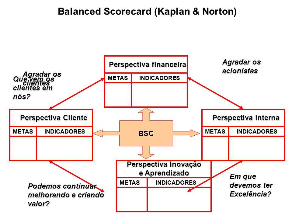Balanced Scorecard (Kaplan & Norton) BSC METASINDICADORES Perspectiva financeira Agradar os acionistas METASINDICADORES Perspectiva Cliente Que vem os