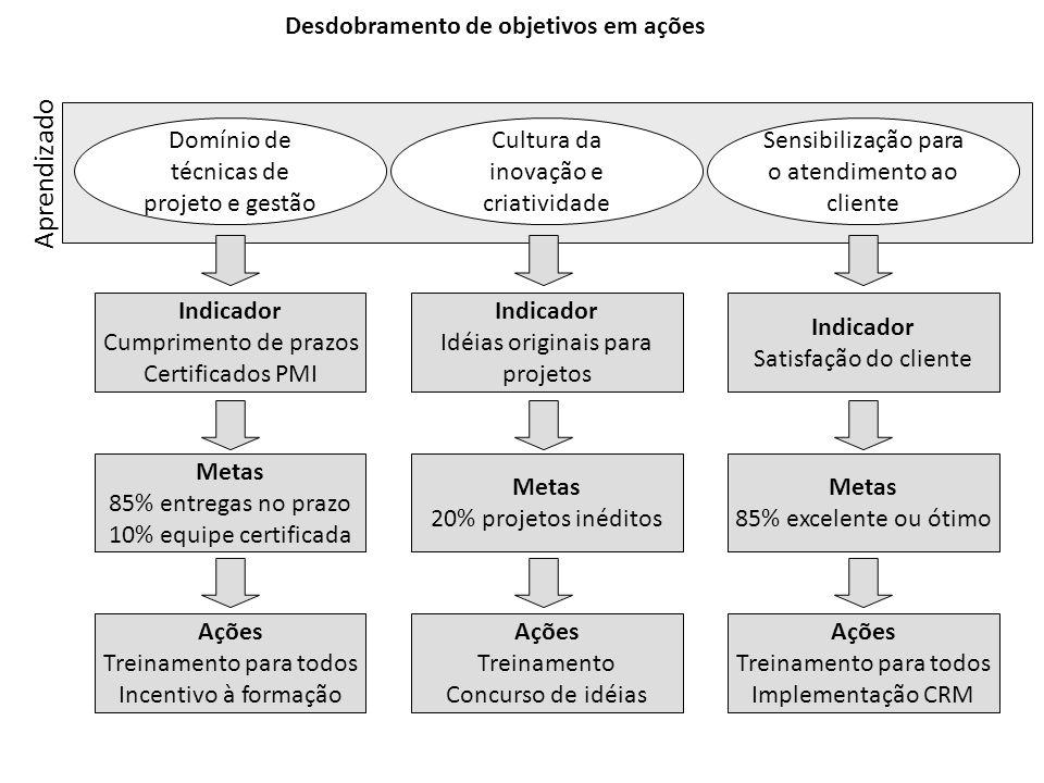 Desdobramento de objetivos em ações Domínio de técnicas de projeto e gestão Cultura da inovação e criatividade Sensibilização para o atendimento ao cl