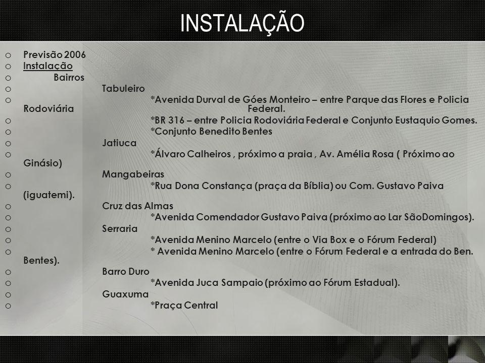 INSTALAÇÃO o Previsão 2006 o Instalação o Bairros o Tabuleiro o *Avenida Durval de Góes Monteiro – entre Parque das Flores e Policia Rodoviária Federa