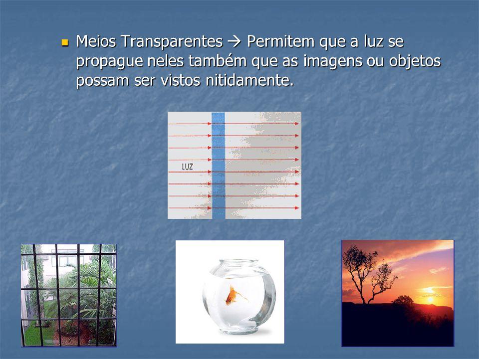  Meios Translúcidos  Permitem que a luz se propague neles mas as imagens não podem ser vistos com nitidez.