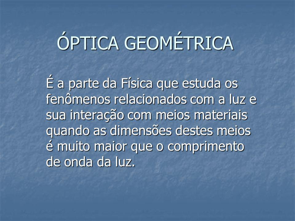 ÓPTICA GEOMÉTRICA É a parte da Física que estuda os fenômenos relacionados com a luz e sua interação com meios materiais quando as dimensões destes meios é muito maior que o comprimento de onda da luz.