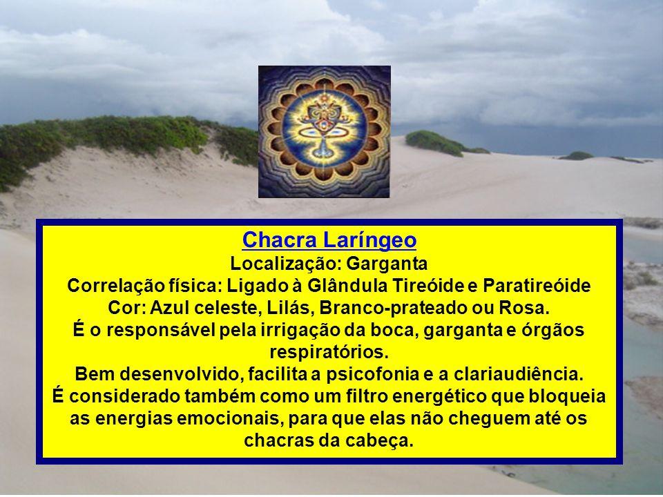 Chacra Laríngeo Localização: Garganta Correlação física: Ligado à Glândula Tireóide e Paratireóide Cor: Azul celeste, Lilás, Branco-prateado ou Rosa.