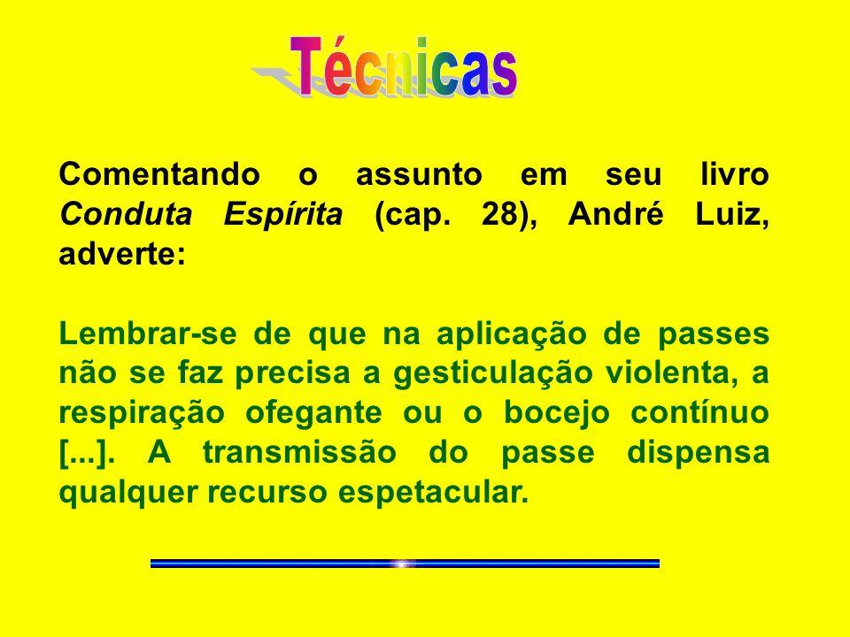 Comentando o assunto em seu livro Conduta Espírita (cap. 28), André Luiz, adverte: Lembrar-se de que na aplicação de passes não se faz precisa a gesti