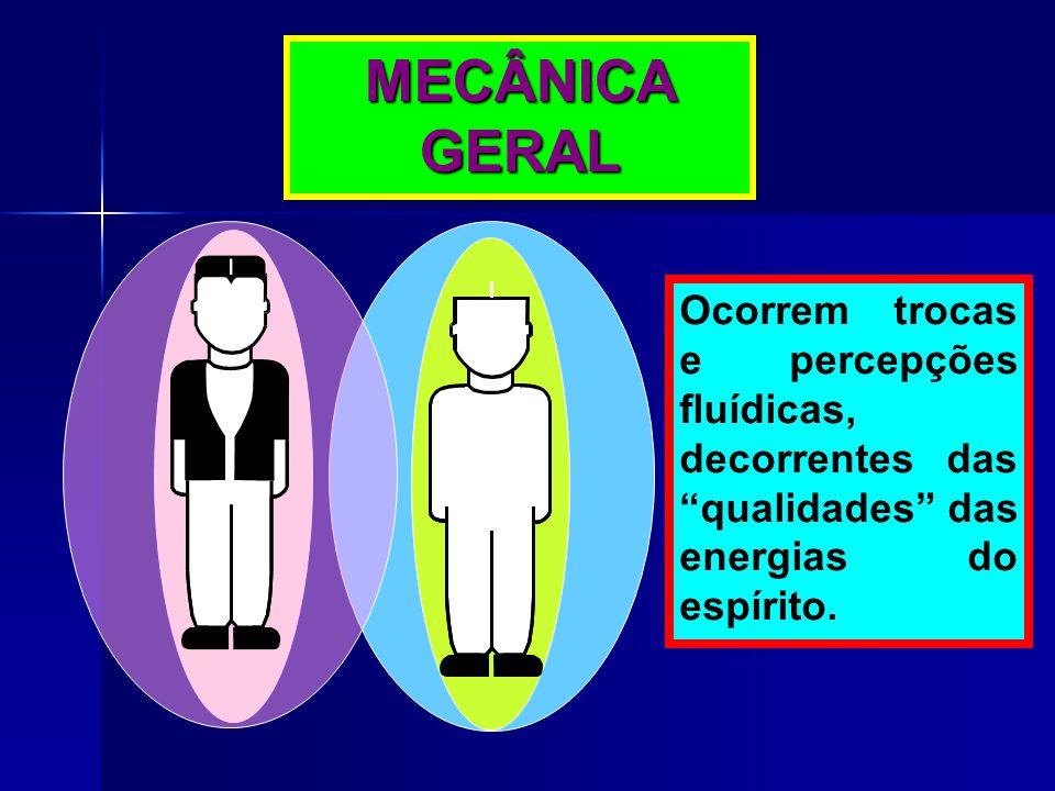 """MECÂNICA GERAL Ocorrem trocas e percepções fluídicas, decorrentes das """"qualidades"""" das energias do espírito."""