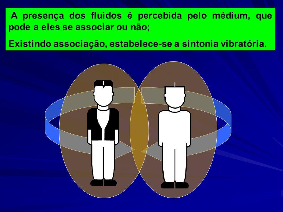 A presença dos fluidos é percebida pelo médium, que pode a eles se associar ou não; Existindo associação, estabelece-se a sintonia vibratória.