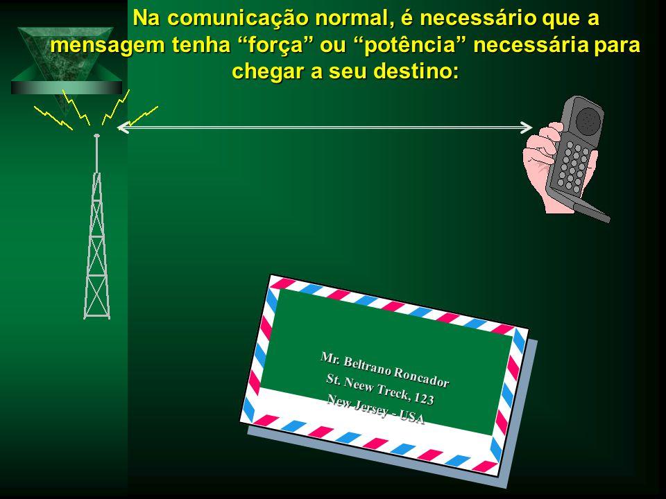 """Na comunicação normal, é necessário que a mensagem tenha """"força"""" ou """"potência"""" necessária para chegar a seu destino: Mr. Beltrano Roncador St. Neew Tr"""