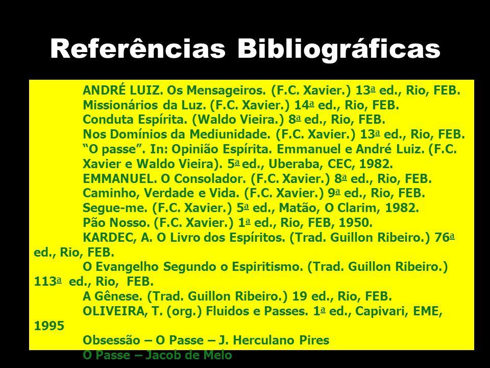 Referências Bibliográficas ANDRÉ LUIZ. Os Mensageiros. (F.C. Xavier.) 13 a ed., Rio, FEB. Missionários da Luz. (F.C. Xavier.) 14 a ed., Rio, FEB. Cond