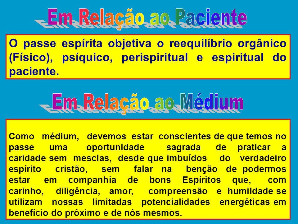 O passe espírita objetiva o reequilíbrio orgânico (Físico), psíquico, perispiritual e espiritual do paciente. Como médium, devemos estar conscientes d