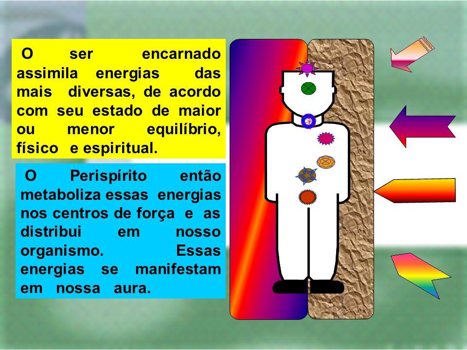 O ser encarnado assimila energias das mais diversas, de acordo com seu estado de maior ou menor equilíbrio, físico e espiritual. O Perispírito então m