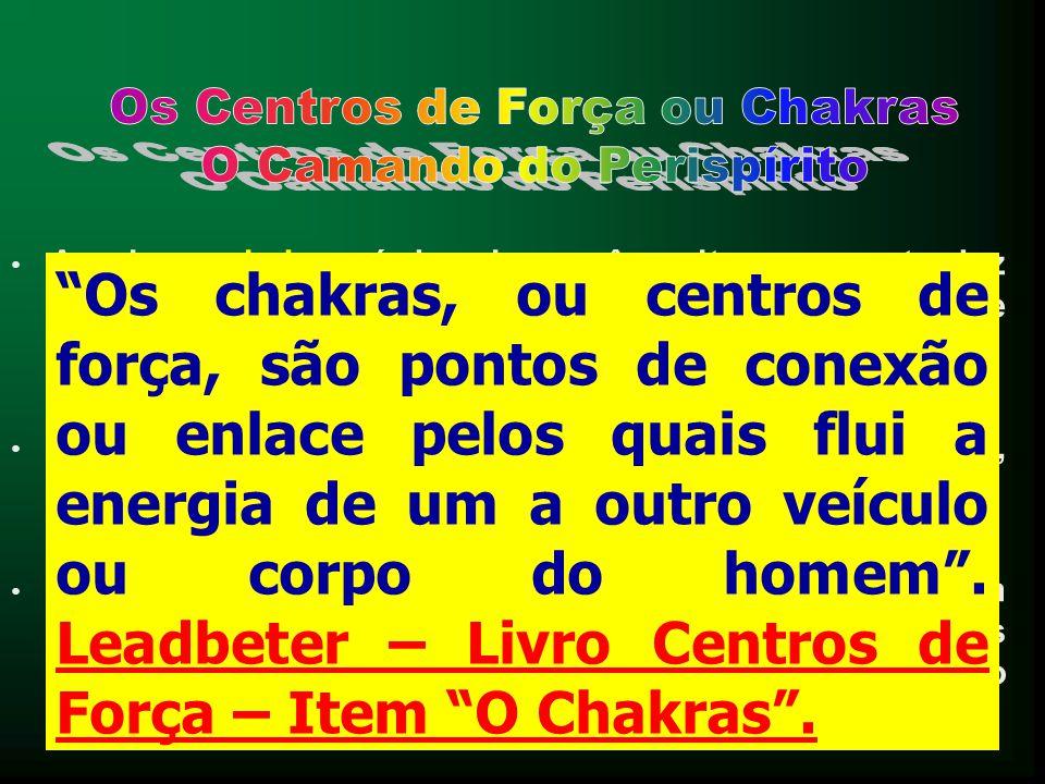 • A palavra chakras é de origem sânscrita, e se traduz pelo termo roda. Também são chamados de Centros de Força, por André Luiz. • Efetivamente, o for