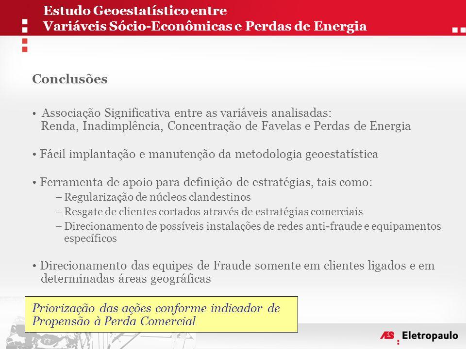 Conclusões • Associação Significativa entre as variáveis analisadas: Renda, Inadimplência, Concentração de Favelas e Perdas de Energia • Fácil implant