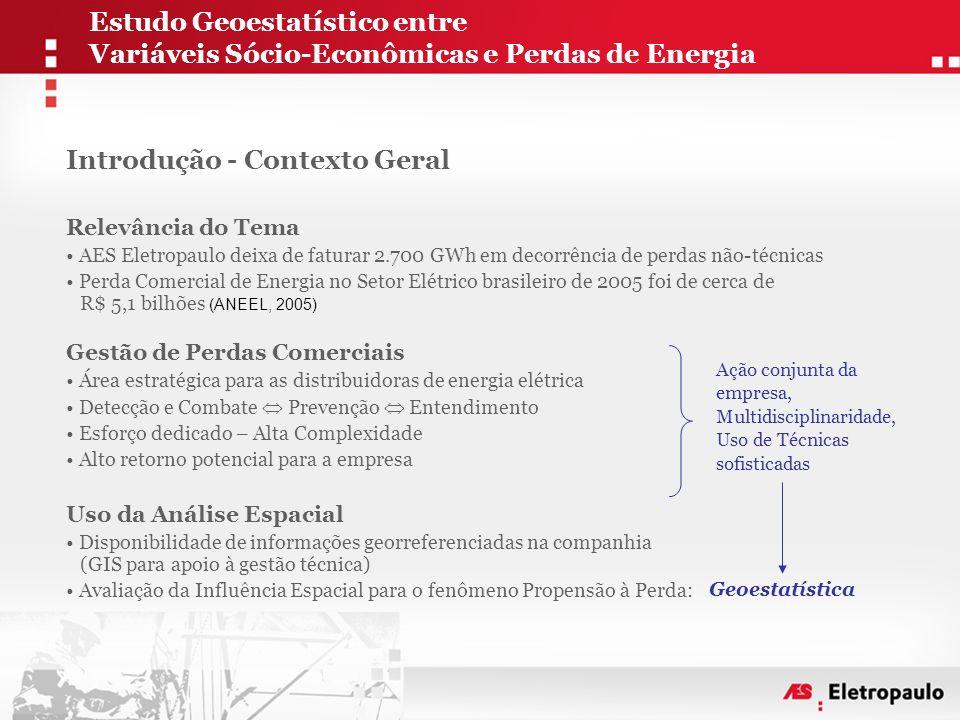 Estudo Geoestatístico entre Variáveis Sócio-Econômicas e Perdas de Energia Introdução - Contexto Geral Relevância do Tema • AES Eletropaulo deixa de f
