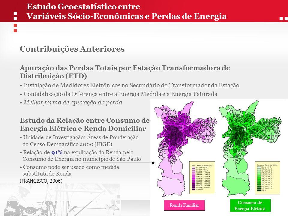 Propensão à Perda Concentração de Favelas Perda Total Concentração de Clientes Cortados Renda Domiciliar (Consumo de Energia Elétrica) Modelo de Regressão Multivariada (explicação da Perda Total) Criação de Indicador de Propensão à Perda   Modelo Adotado Unidade: ETD (ponto) Unidade: Quadrículas de 1 km 2 Origem: Áreas de Favelas do PMSP Unidade: Quadrículas de 1 km 2 Ponderação entre os construtos Estudo Geoestatístico entre Variáveis Sócio-Econômicas e Perdas de Energia