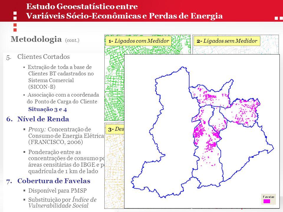 Mapa das Áreas de Maior Propensão à Incidência de Perdas Comerciais + + + + Cada Polígono contém: - Perda Percentual por Estação - Renda (Consumo) Médio por Domicílio - Percentual da Área Ocupado por Favelas - Percentual de Clientes Cortados Sobreposição Geográfica Overlay Espacial Maior Propensão à Perda Estudo Geoestatístico entre Variáveis Sócio-Econômicas e Perdas de Energia