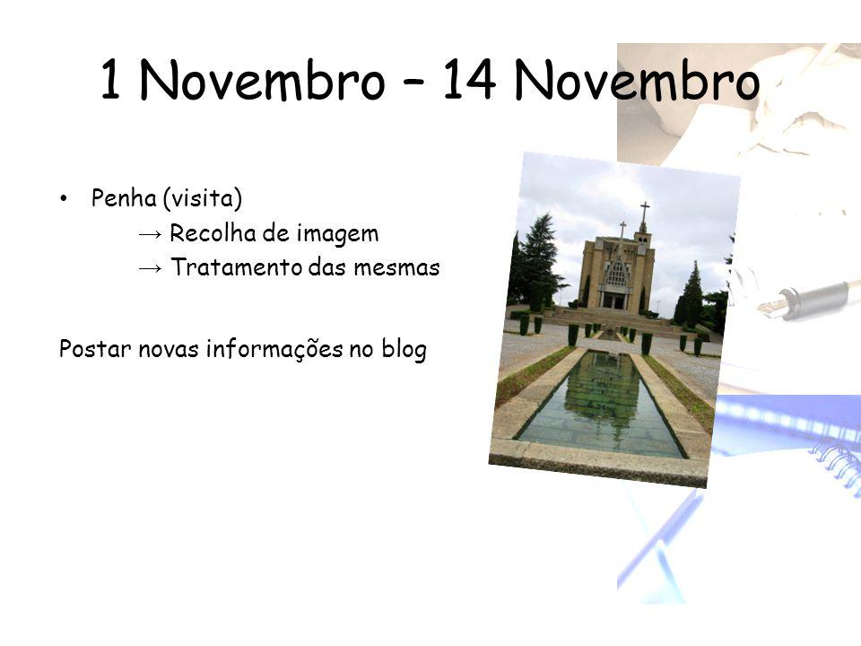 1 Novembro – 14 Novembro • Penha (visita) → Recolha de imagem → Tratamento das mesmas Postar novas informações no blog