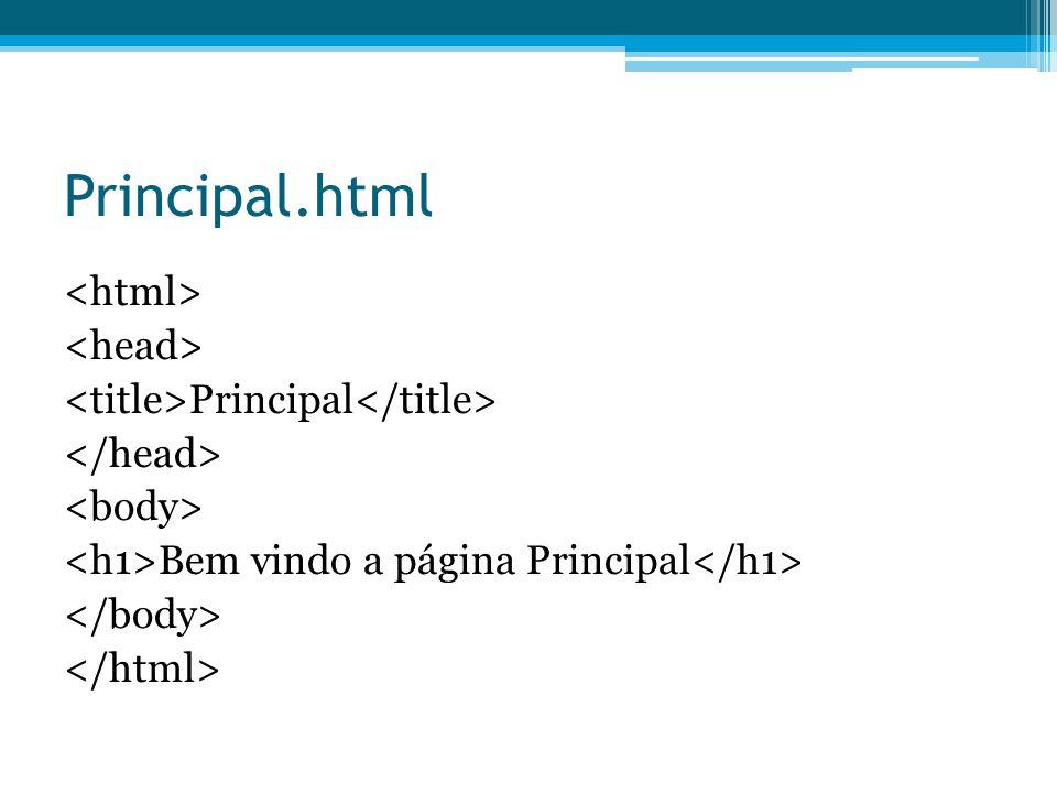 Principal.html Principal Bem vindo a página Principal
