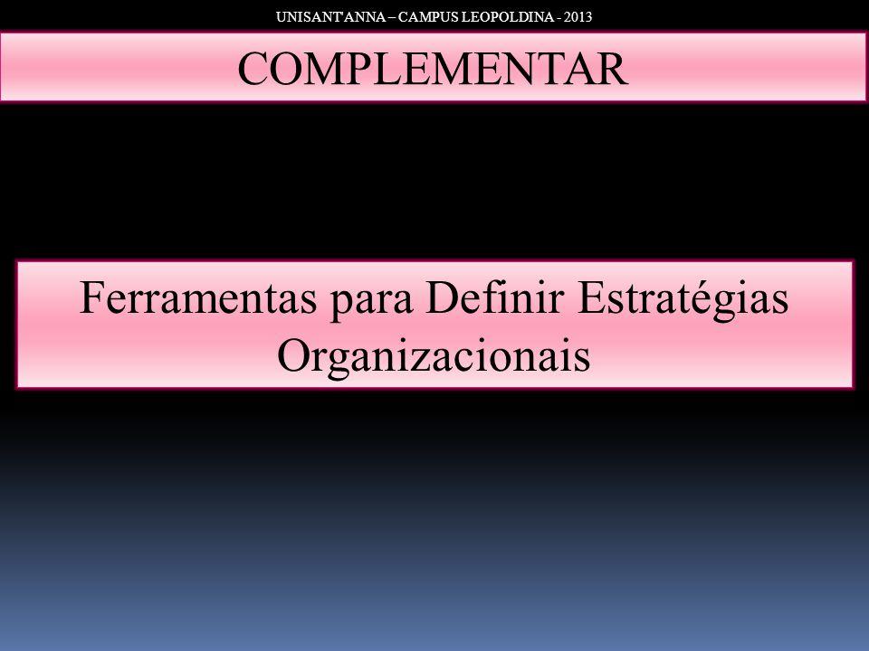 UNISANT'ANNA – CAMPUS LEOPOLDINA - 2013 COMPLEMENTAR Ferramentas para Definir Estratégias Organizacionais