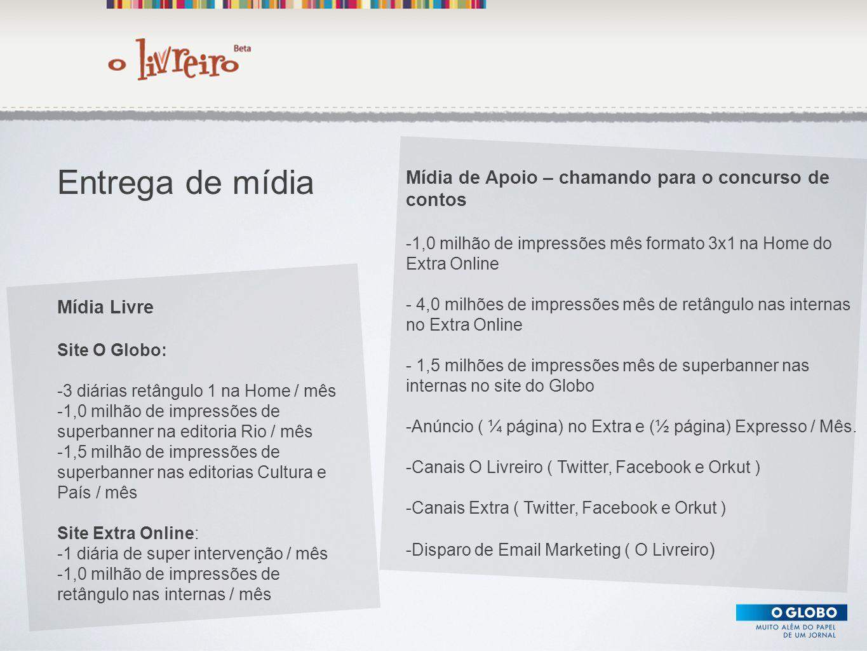 Texto Mídia Livre Site O Globo: -3 diárias retângulo 1 na Home / mês -1,0 milhão de impressões de superbanner na editoria Rio / mês -1,5 milhão de imp